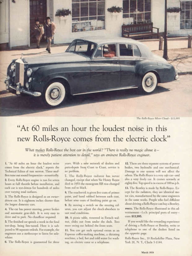 Ogilvy's Rolls Royce ad