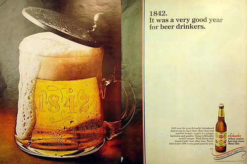 Schaefer beer ad in Ebony Magazine