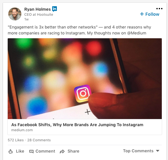 screenshot of a Ryan Holmes LinkedIn Post