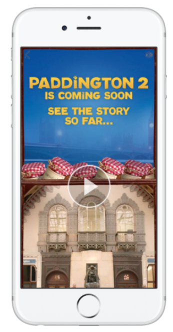 Paddington 2 Facebook Story on mobile phone