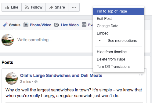 How to pin a post to the top of your Facebook post