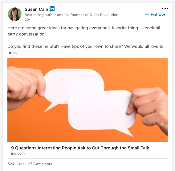 screenshot of a Susan Cain post on Linkedin