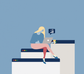 Illustration of a woman sitting on internet browser windows on a laptop looking at analytics