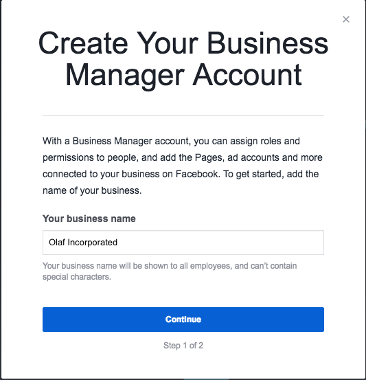 Create your Business Manager account