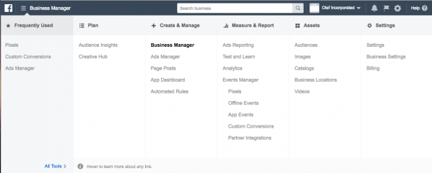 The Facebook Business Manager dashboard