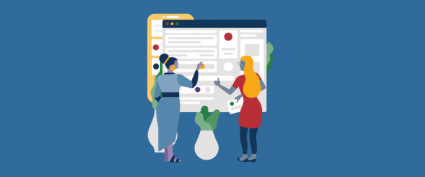 Illustration of two people in front a giant Facebook business page layout moving around elements on the profile
