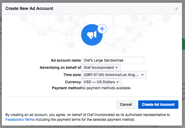 Create ad account