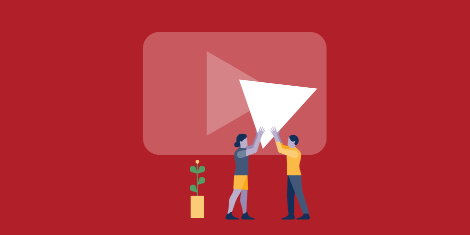 illustration of a man and a woman lifting the YouTube play button