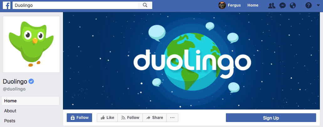Duolingo Facebook cover photo