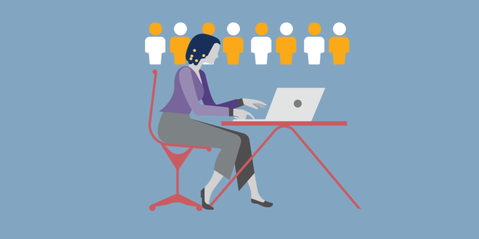 illustration of woman typing on a laptop with people icons above her head