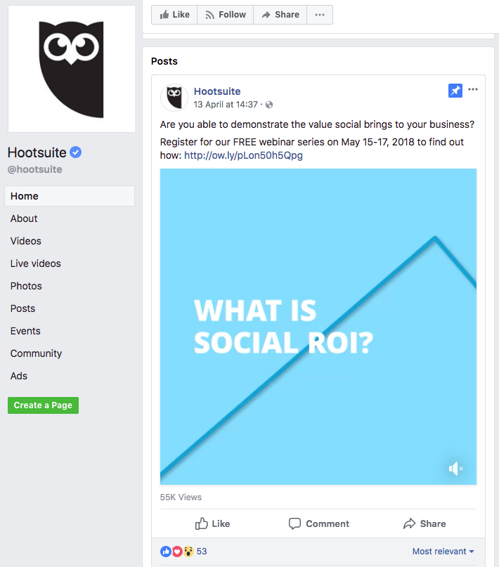 Hootsuite pinned post