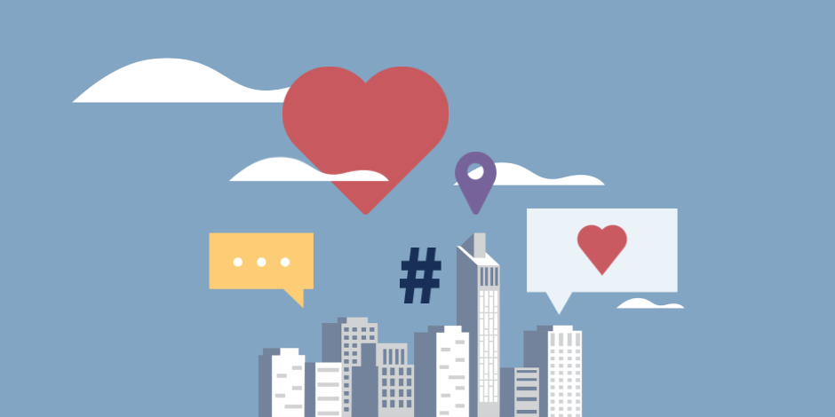 Illustration of a city skyline with social media icons floating above it
