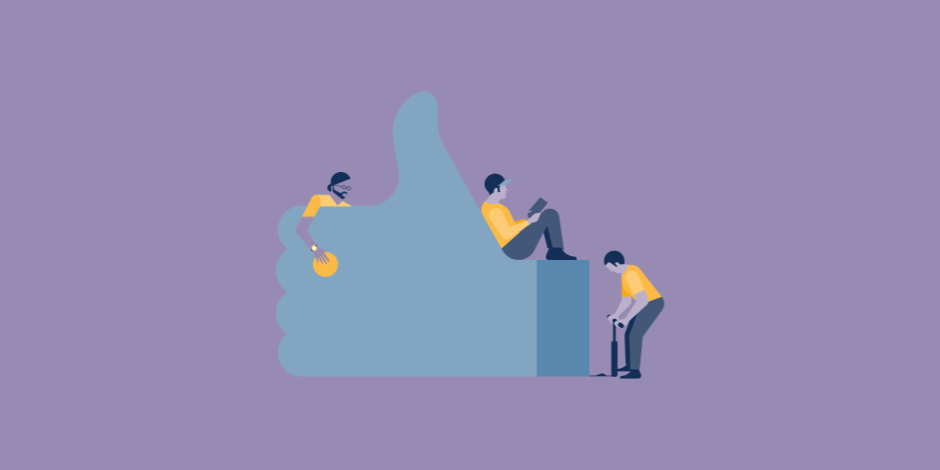 Illustration of three people lounging on a Facebook Like button