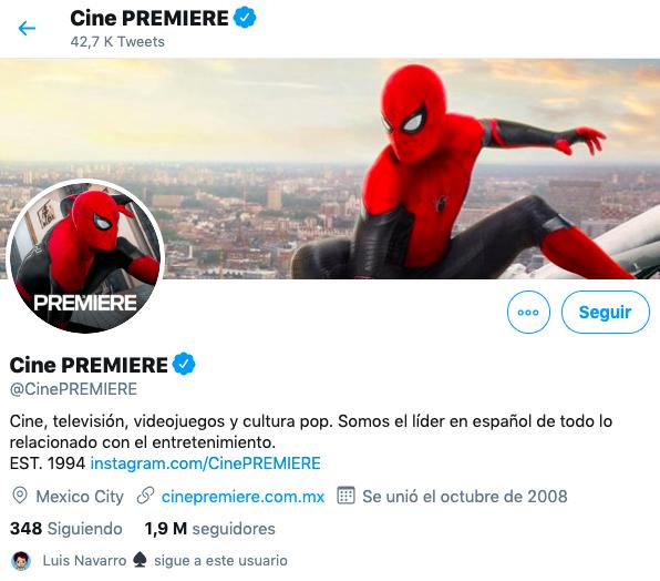 Cómo crear una descripción en tu perfil de Twitter https://twitter.com/CinePREMIERE