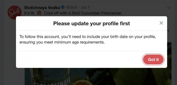 Twitter age gate