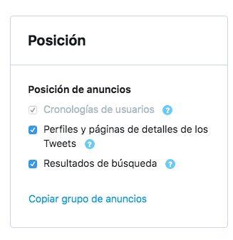 Ubicación y posición de los anuncios en Twitter