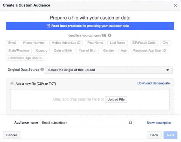 Use Facebook Custom Audiences