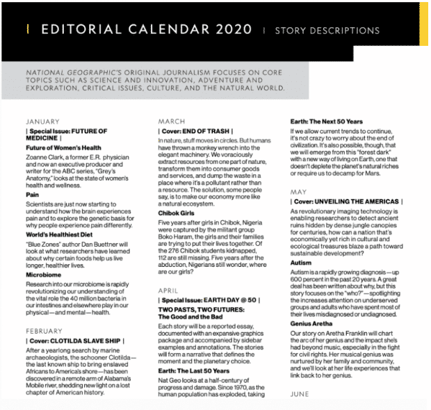 Calendrier éditorial du National Geographic 2020