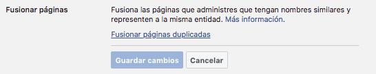 Paso 2.5 - fusionar paginas de Facebook