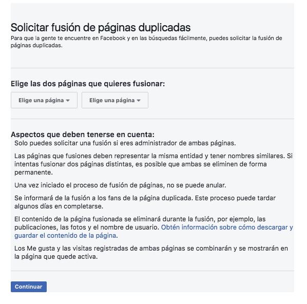 Paso 3 - fusionar paginas de Facebook