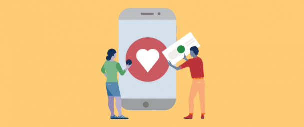 Illustration of a man and a woman holding design elements in front of giant smartphone with an Instagram heart on it
