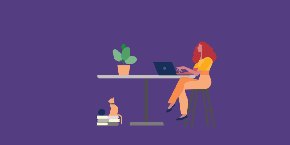 illustration of woman typing on laptop at table, cat sitting on books underneath
