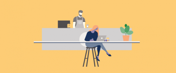 Illustration of a woman on a laptop in a coffee shop