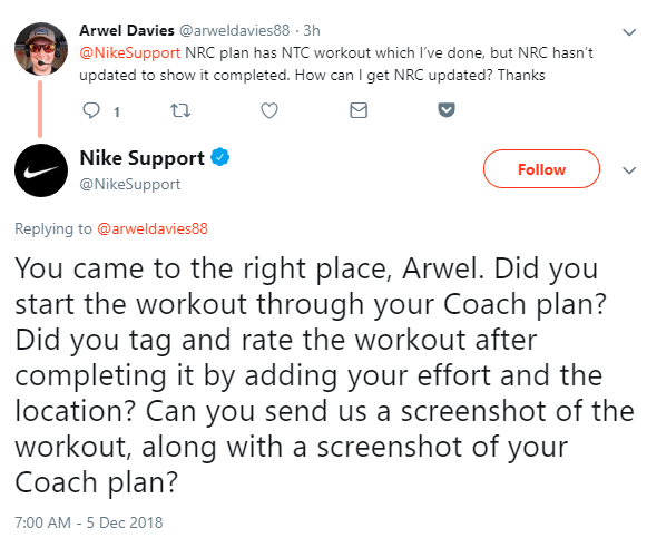 social media enagement: nike customer support tweet