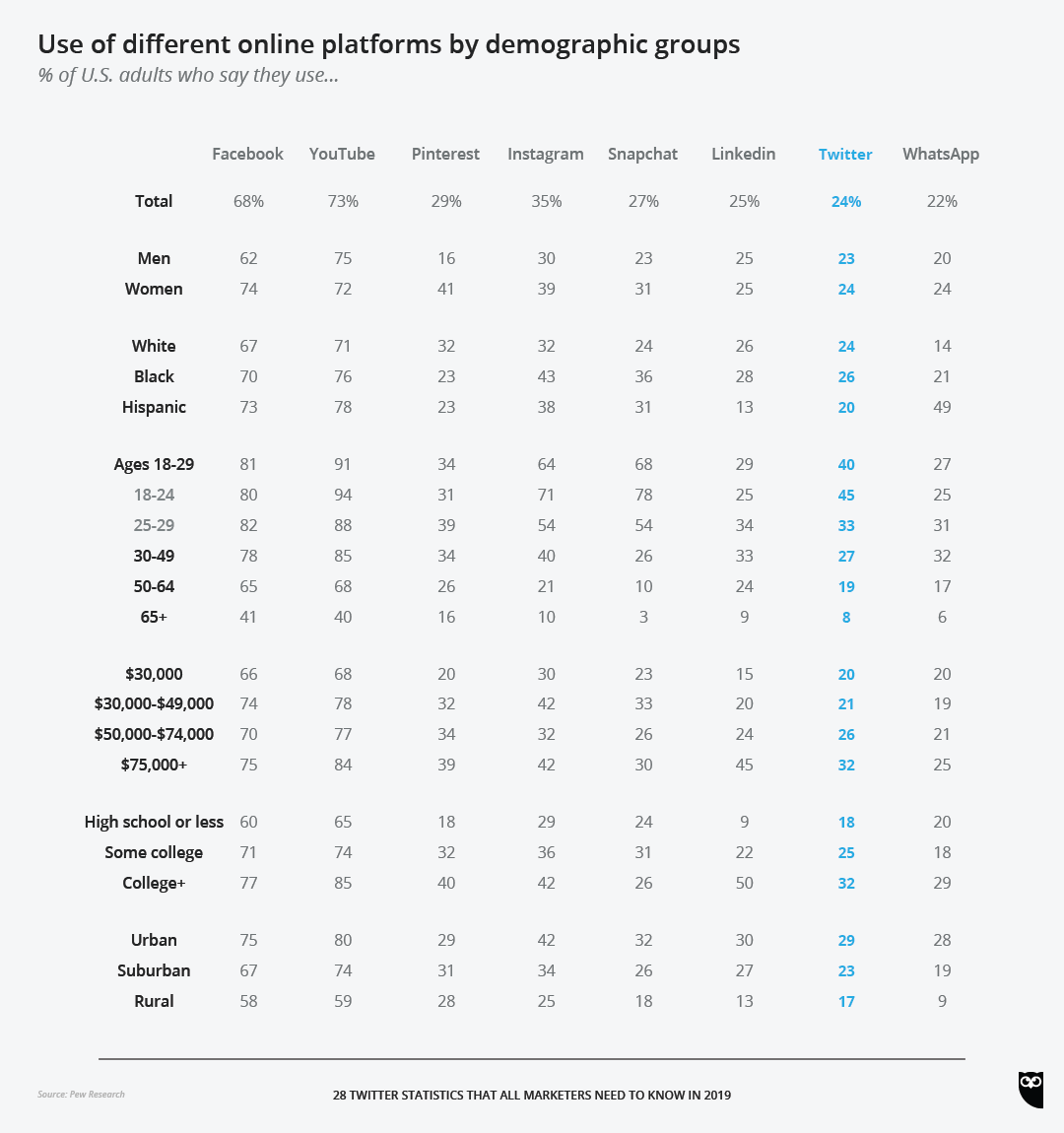 605feb1b020e Use of different online platforms by demographic groups