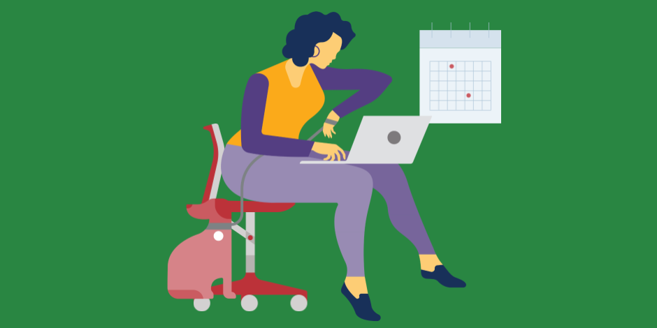 Illustration of a woman on a laptop looking at her watch with a calendar in the background.