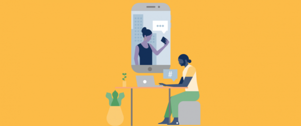 illustration of man working on a laptop, videoconferencing with a woman on her phone