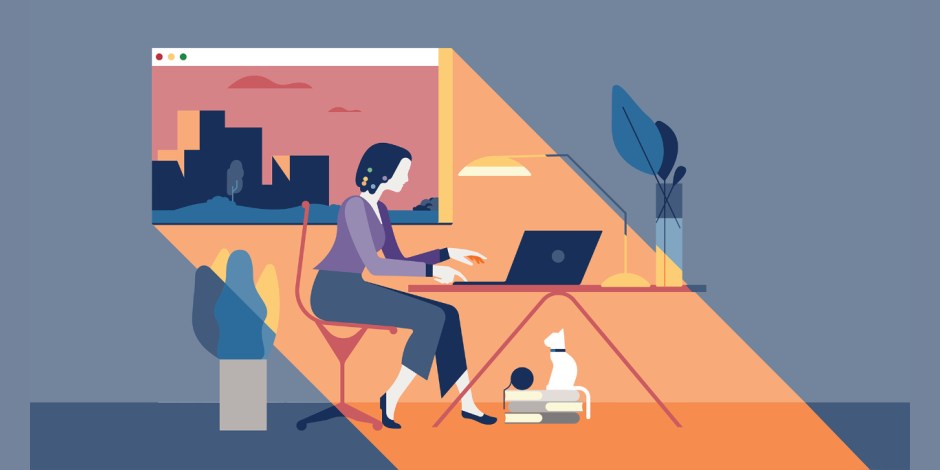 Illustration of a woman working at her desk in an office
