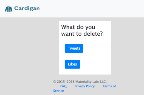 Cardigan asking What do you want to delete