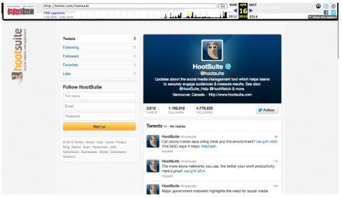 Hootsuite's twitter page on the Wayback machine in 2013