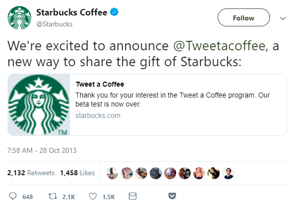 social media engagement example on Twitter by Starbucks