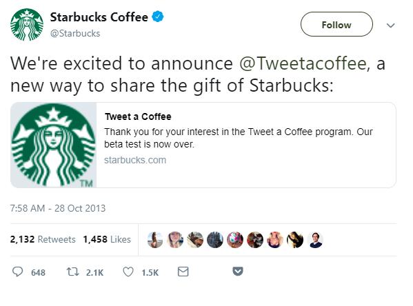 social media engagement example on Twitter by Starbucks