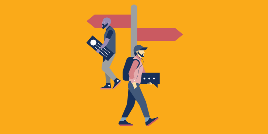 Illustration of two people carrying social media engagement icons as if they were luggage