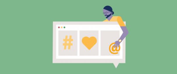 Illustration of a man looking at social media monitoring dashboard
