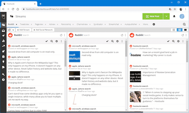 Screenshot of the Reddit search app that you can use in Hootsuite for social media monitoring