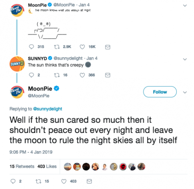 MoonPie customer interaction on Twitter