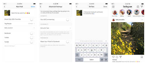 composing alternate text in Instagram