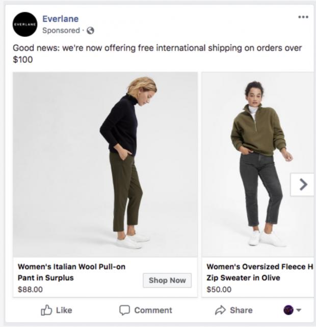 Facebook Anzeigenformate -Everlane