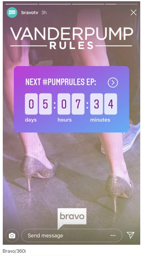 Instagram Story of Vanderpump Rules countdown