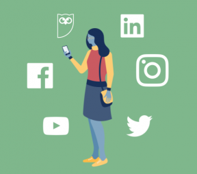 Illustration of a woman holding a phone surrounded by social media logos