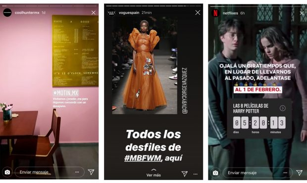 Instagram Stories - (Fuente: Instagram coolhuntermx, Vogue España y Netflix España)