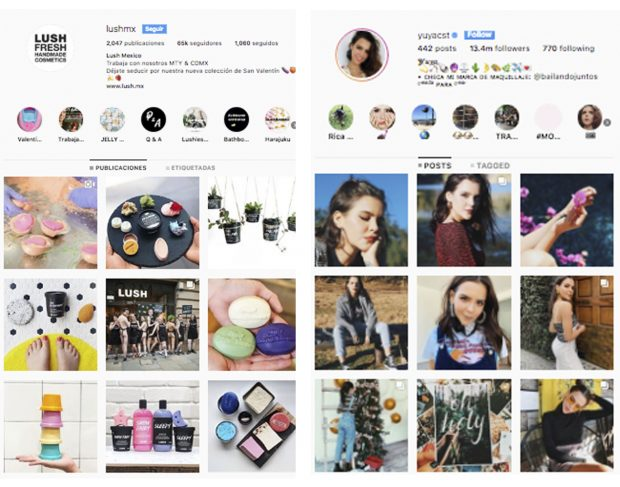 Instagram Stories - (Fuente: Instagram Lush México y Yuyaa)
