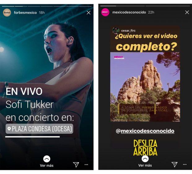 Instagram Stories - (Fuente: Instagram Forbes México y México Desconocido)