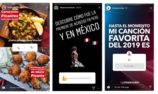 Instagram Stories - (Fuente: Instagram Food Network Latinoamérica, Warner Brothers Latinoamérica y Latin Grammys)