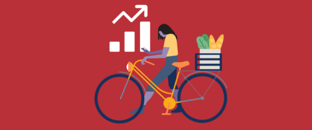 illustration of a woman walking her bike and looking at her phone with a graph trending upwards in the background