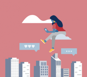 Illustration of a city skyline with a social media professional floating above sitting on a cloud looking at her smartphone